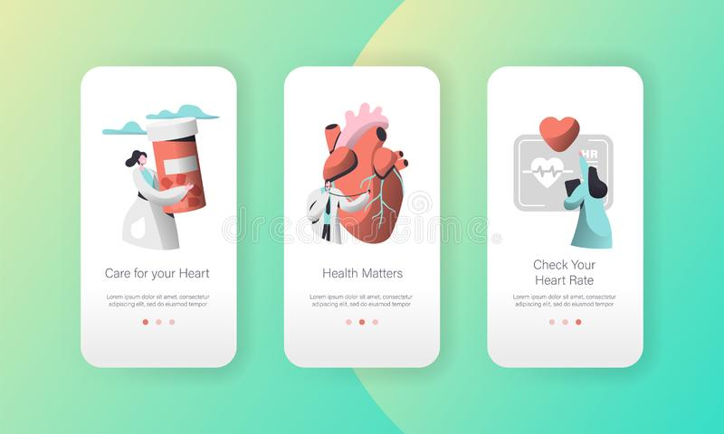 Medical Cardiology Worker Care Heart Health Mobile App Page Onboard Screen Set. Pill for Treatment. Emergency First Aid. Medical Cardiology Worker Care Heart royalty free illustration