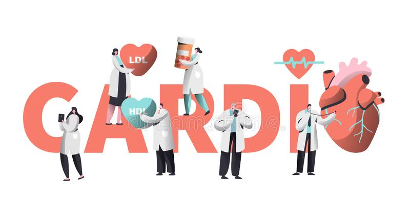 Medical Cardiology Worker Care Heart Health Typography Banner. Team Character for Poster Background. Pill for Treatment royalty free illustration