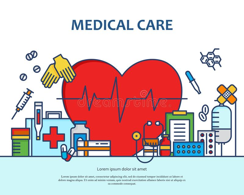 Medical care concept in modern flat line style in heart shape. Diagnosis, science and a lot of medicine icons. Banner. For website or magazne. Header, poster stock illustration
