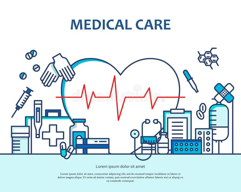 Medical care concept in modern flat line style in heart shape. Diagnosis, science and a lot of medicine icons. Banner stock illustration