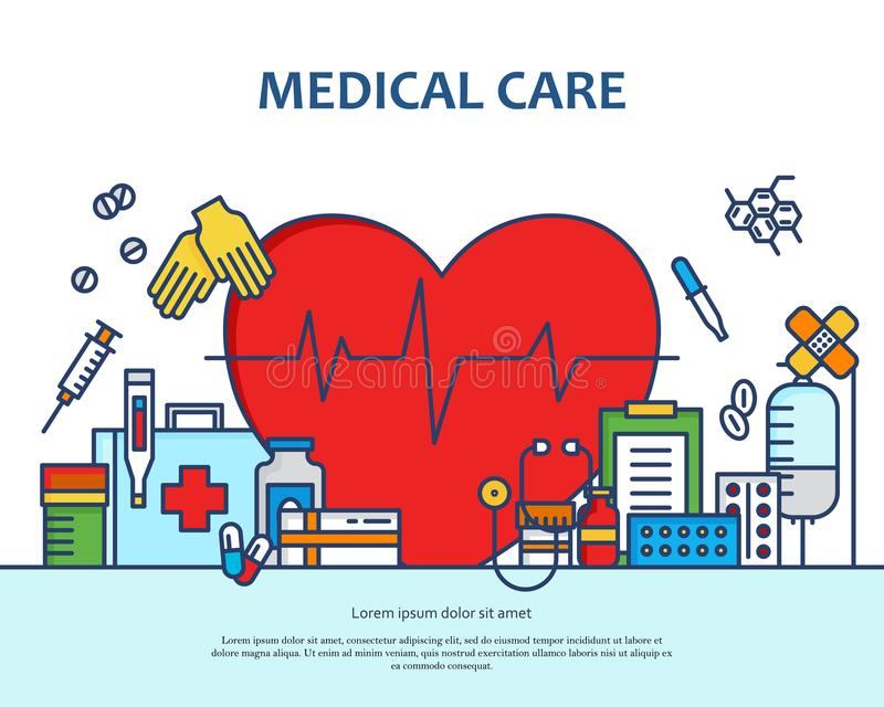 Medical care concept in modern flat line style in heart shape royalty free illustration