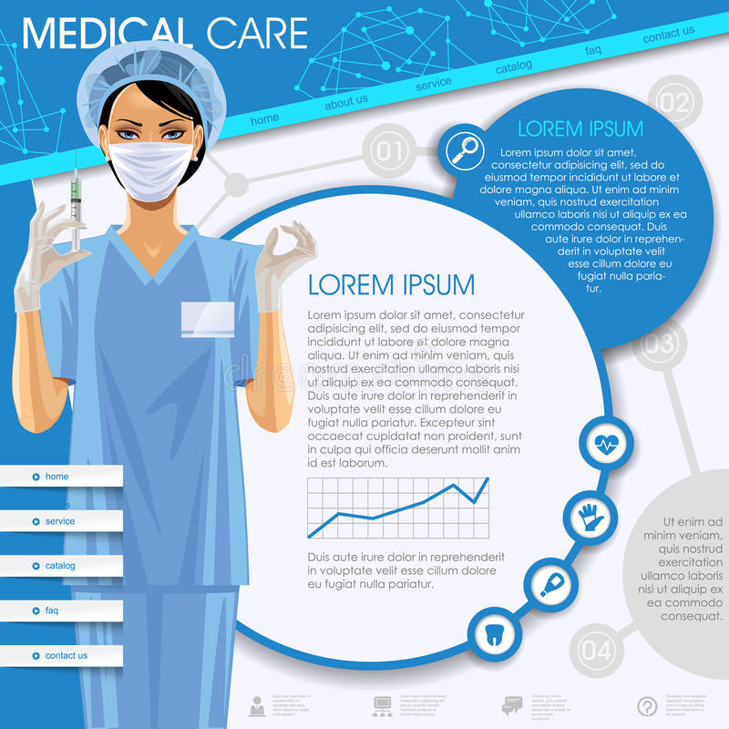 Medical care template stock vector. Illustration of page - 61842101