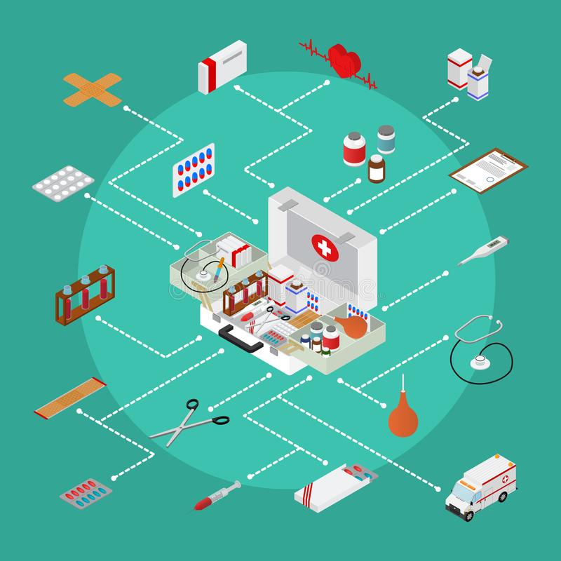 Medical Case with Equipment Concept First Aid Isometric View. Vector vector illustration