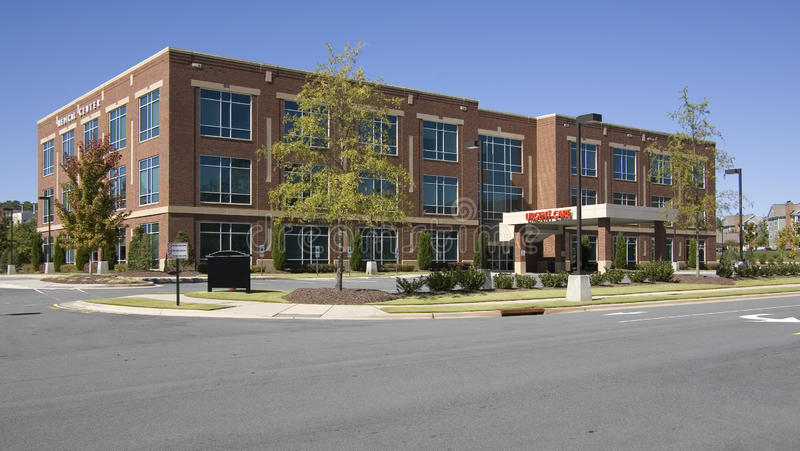 Medical center building. In suburban area stock images