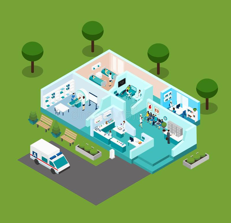 Medical Center Isometric Scheme Icons stock illustration