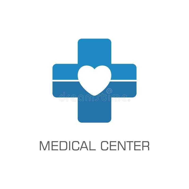 Medical center logo, blue cross and heart royalty free illustration