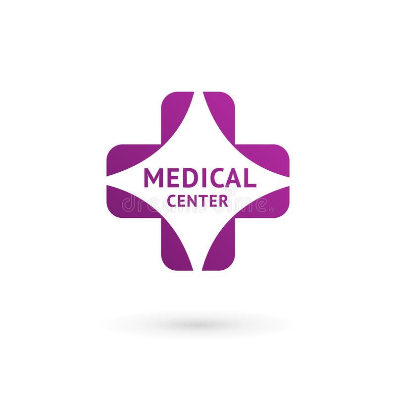 Medical center logo icon design template with cross and plus stock illustration