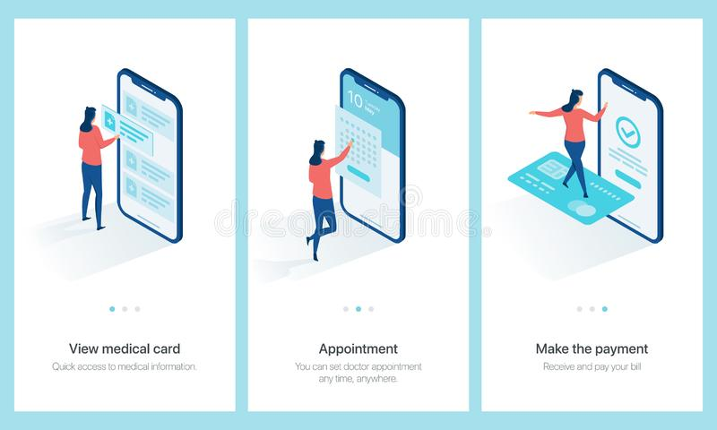 Medical centre concept onboarding. View medical card, set doctor appointment, make the payment. Vector mobile app onboarding screens template royalty free illustration