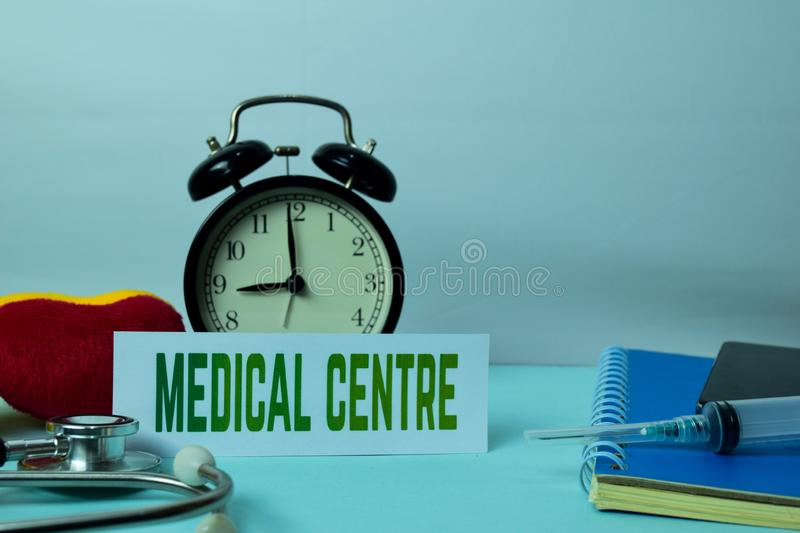 Medical Centre Planning on Background of Working Table with Office Supplies. Medical and Healthcare Concept Planning on White Background royalty free stock image