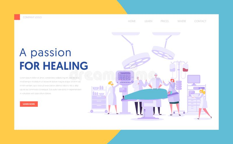 Medical Character Performing Surgery Operation Concept Landing Page. People Team in Modern Operating Room with New Equipment. Medical Hospital Website or Web stock illustration
