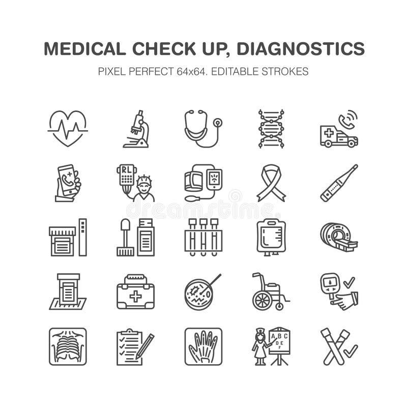 Medical check up, flat line icons. Health diagnostics equipment - mri, tomography, glucometer, stethoscope, blood. Pressure, x-ray, blood test. Hospital outline vector illustration
