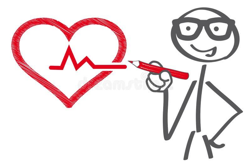 Medical checkup concept. Stick figuredrawing heart - medical checkup concept vector illustration