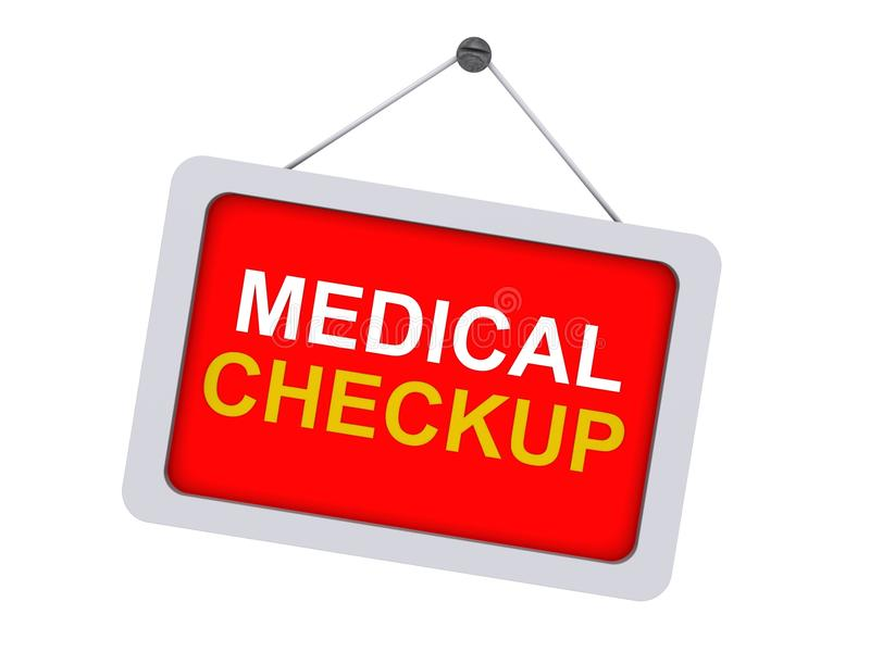 Medical checkup sign. A red sign with the text 'medical checkup royalty free illustration