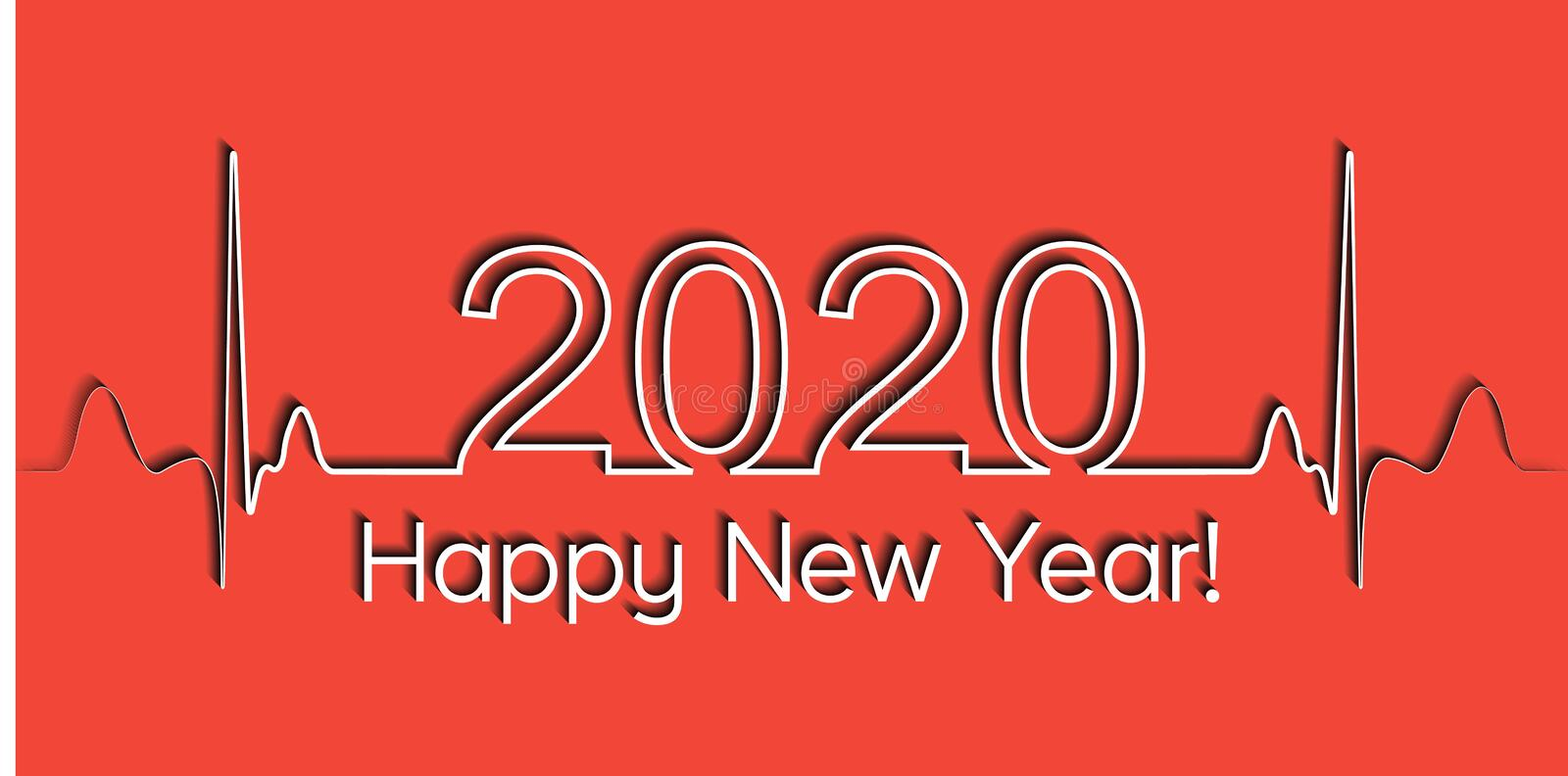 Medical Christmas banner, 2020 happy new year, vector 2020 health medical style heartbeat, concept healthy lifestyle. Medical Christmas banner, 2020 happy new royalty free illustration