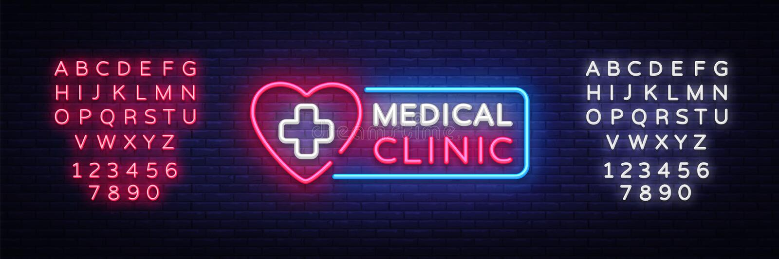 Medical Clinic neon signboard vector. Medical neon glowing symbol, Light Banner, neon icon, design element. Vector. Illustration. Editing text neon sign royalty free illustration
