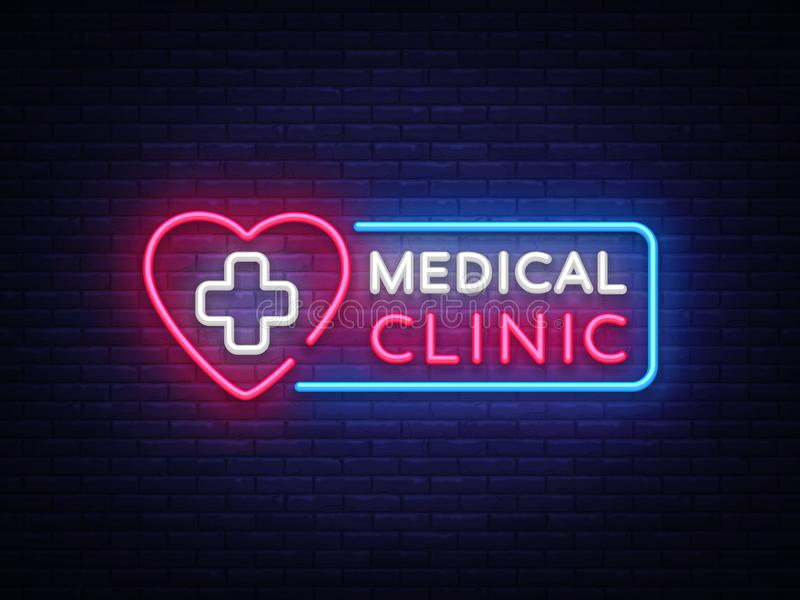 Medical Clinic neon signboard vector. Medical neon glowing symbol, Light Banner, neon icon, design element. Vector stock illustration