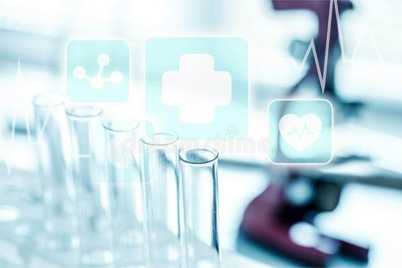Medical. Clinical research drug blue biotech lab stock image