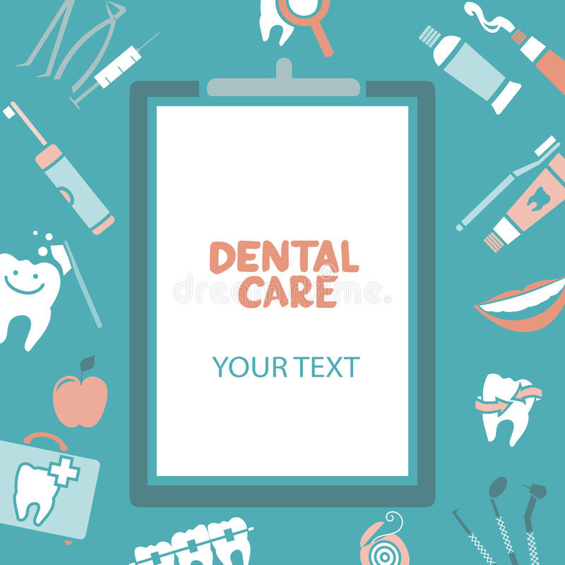 Medical clipboard with dental care text vector illustration