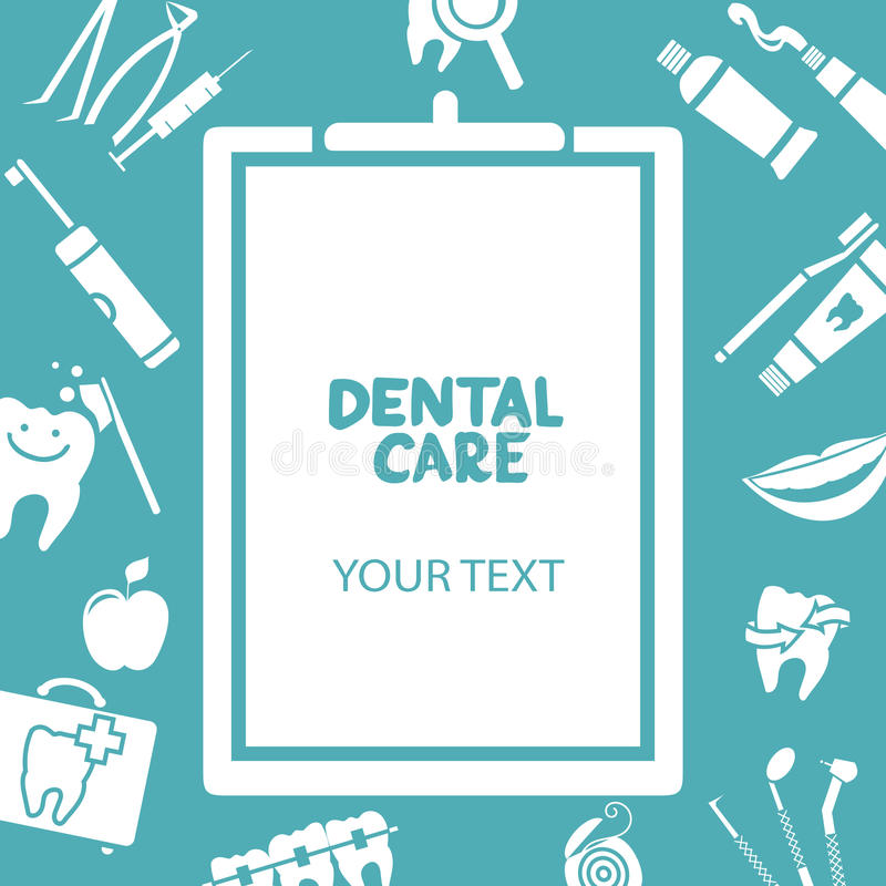 Medical clipboard with dental care text royalty free illustration