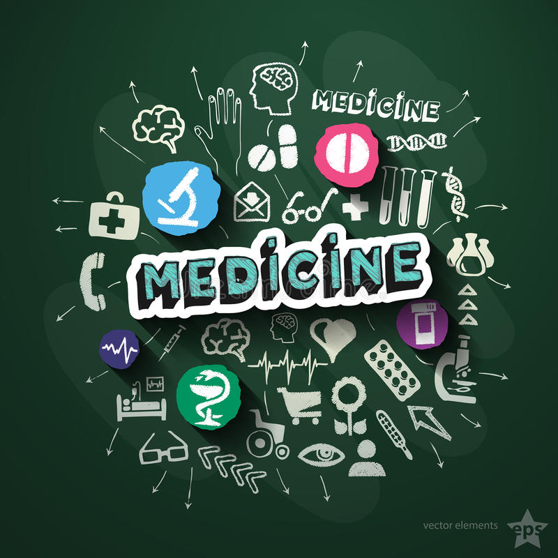Medical collage with icons on blackboard stock illustration
