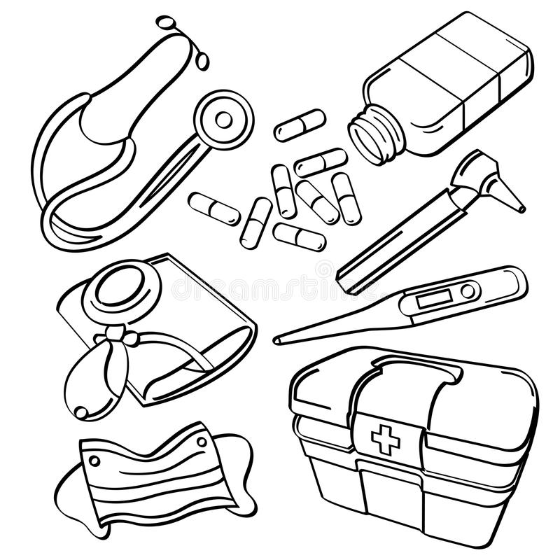 Medical Collection. A collection of medical elements. It contains hi-res JPG, PDF and Illustrator 9 files stock illustration
