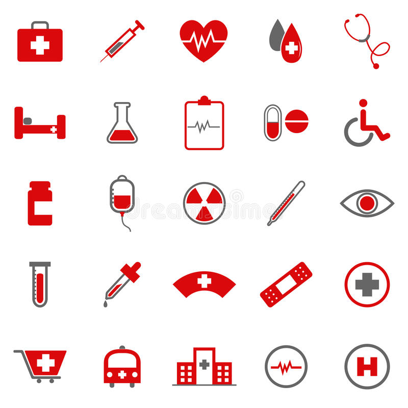 Medical Color Icons On White Background Royalty Free Stock Images