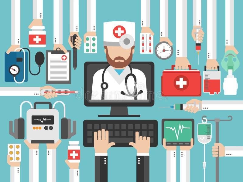 Medical computer online call flat design set with doctor. Vector illustration stock illustration