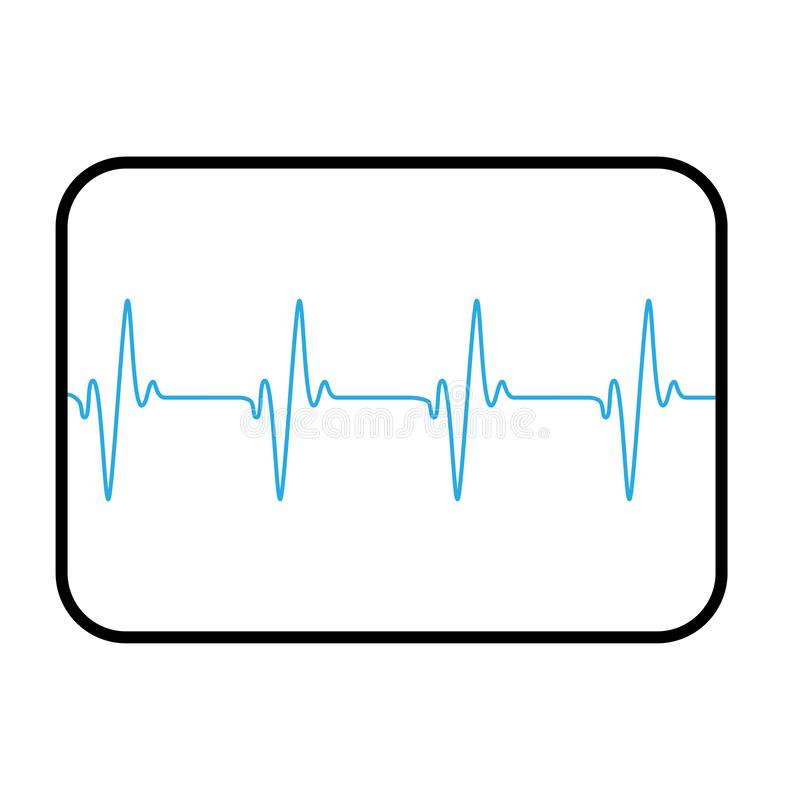 Medical computer screen showing blue cardio line stock illustration