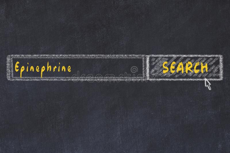 Medical concept. Chalk drawing of a search engine window looking for drug epinephrine stock photos