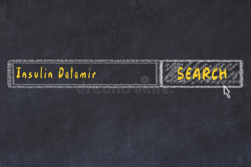 Medical concept. Chalk drawing of a search engine window looking for drug insulin detemir.  royalty free stock image