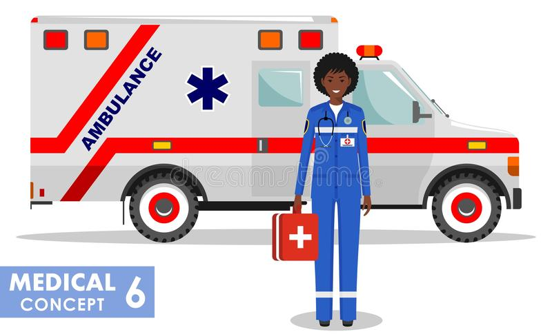 Medical concept. Detailed illustration of african american emergency doctor woman and ambulance car in flat style on. Detailed illustration of african american stock illustration