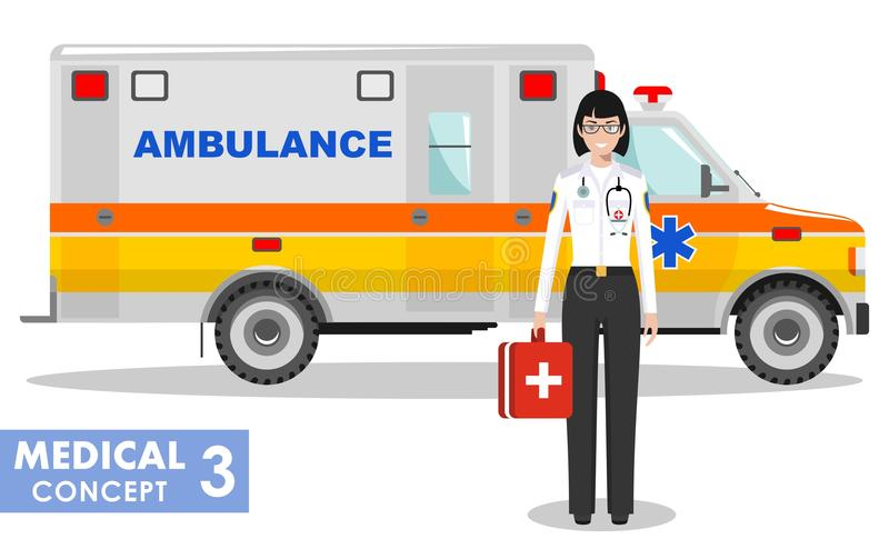 Medical concept. Detailed illustration of emergency doctor woman and ambulance. Detailed illustration of medical people and ambulance car in flat style on white stock illustration