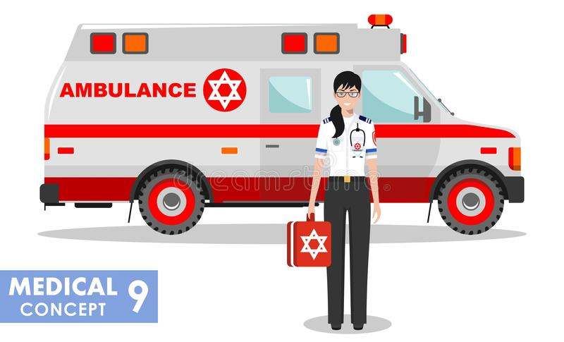 Medical concept. Detailed illustration of jewish emergency doctor woman and ambulance car in flat style on white. Detailed illustration of jewish medical people stock illustration