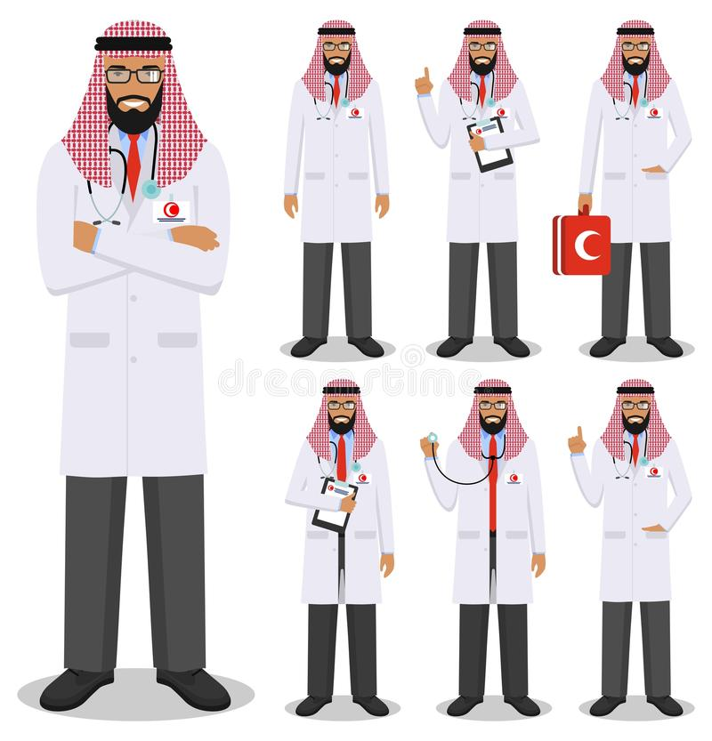 Medical concept. Detailed illustration of young muslim arabian doctors in flat style isolated on white background. Practitioner ar stock illustration