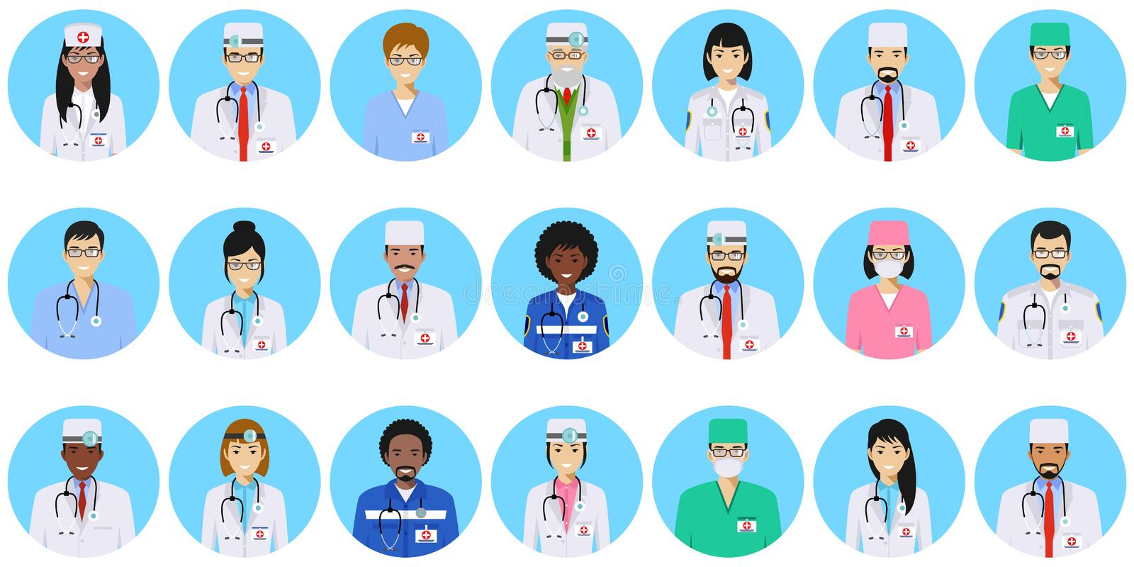 Medical concept. Different doctors, nurses characters avatars icons set in flat style isolated on blue background. Medical concept. Set of colorful medical staff vector illustration