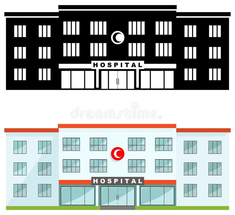 Medical concept. Different kind muslim hospital building isolated on white background in flat style: colored and black silhouette. Detailed illustration of royalty free illustration