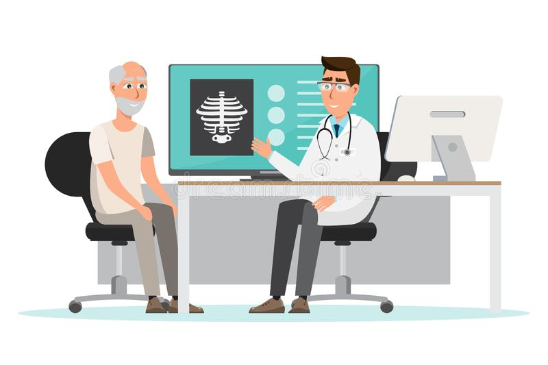 Medical concept. doctor and patient in hospital interior room. Cartoon vector illustration in flat style background treatment healthcare office medicine royalty free illustration