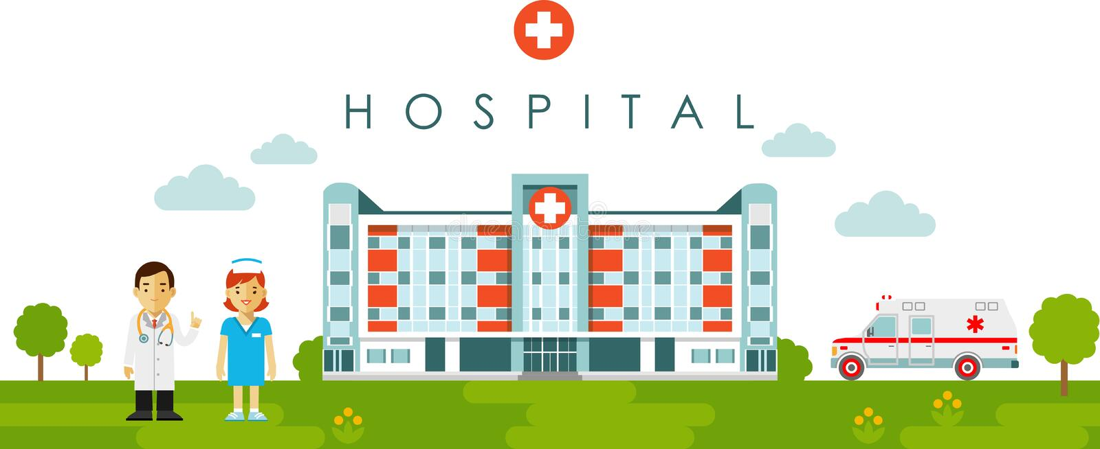 Medical concept with hospital building and doctor in flat style royalty free illustration