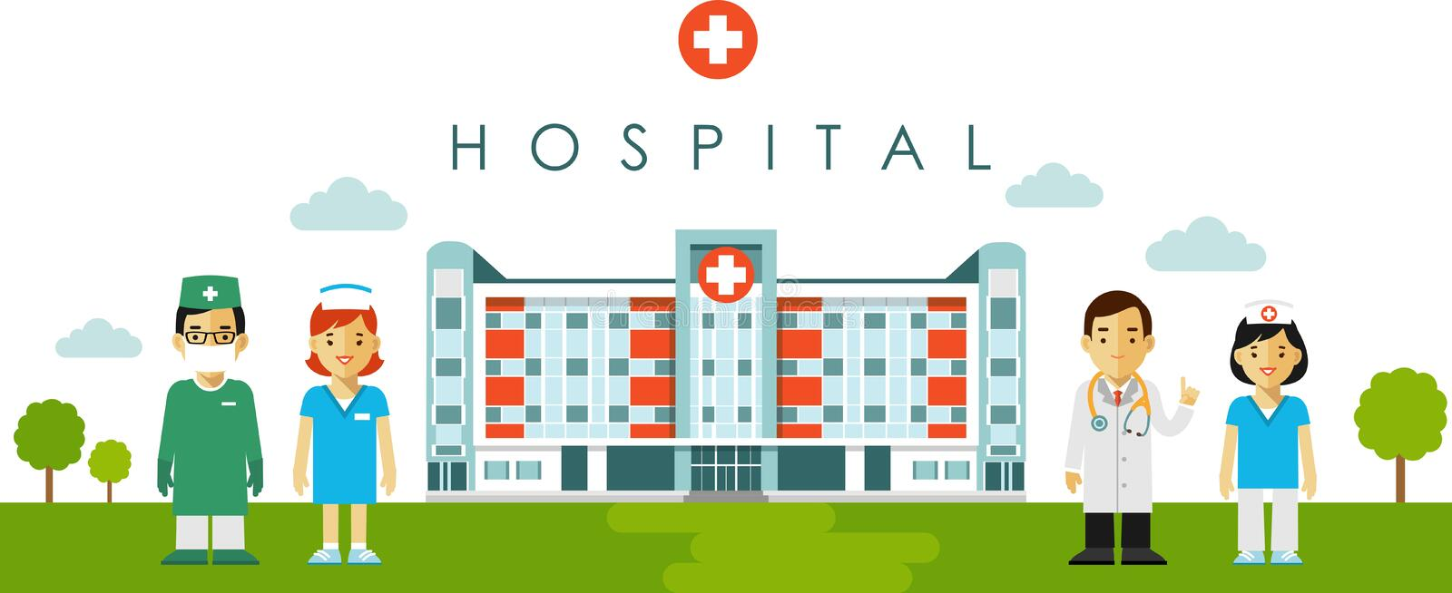Medical concept with hospital building and doctor in flat style stock illustration
