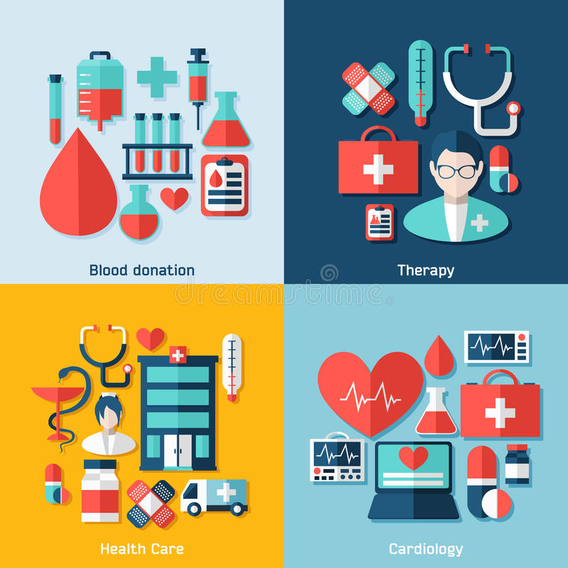 Medical concept with infographic elements stock illustration