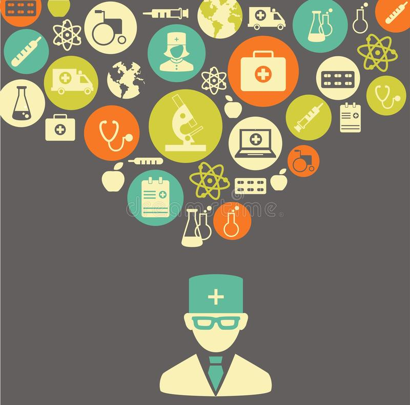 Medical concept. The concept of medicine. Silhouette of doctor with many medical icons stock illustration
