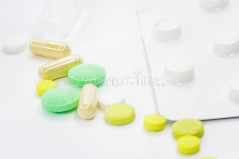 Background and texture with medicines. White background. royalty free stock photos