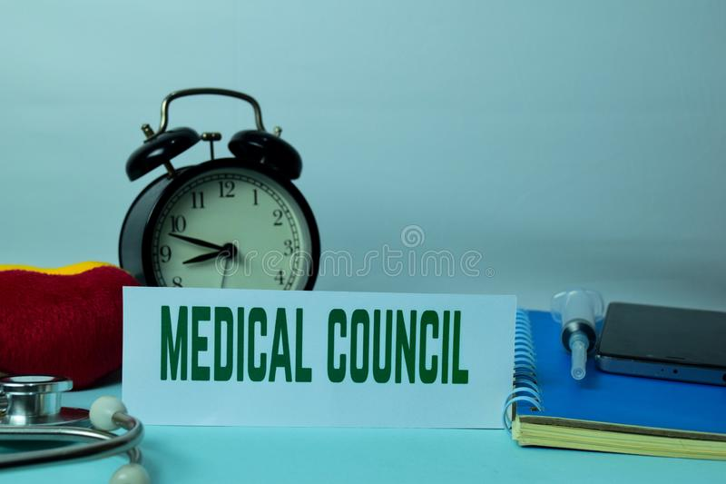 Medical Council Planning on Background of Working Table with Office Supplies. Medical and Healthcare Concept Planning on White Background stock images