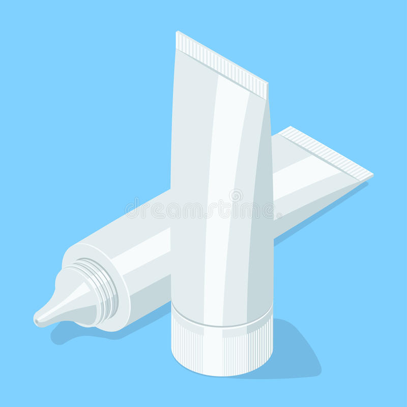 Medical cream gel tube. Isometric illustration royalty free illustration