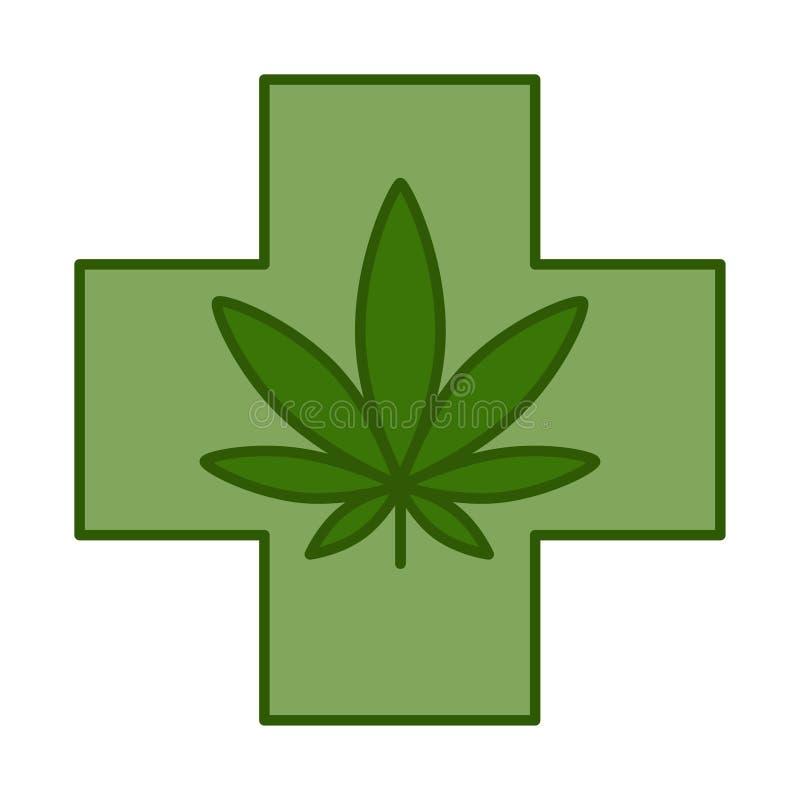 Medical cross with cannabis leaf royalty free illustration