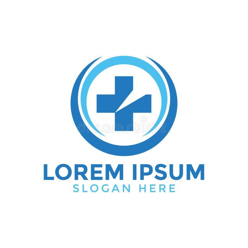 Medical cross circle logo icon design template stock illustration