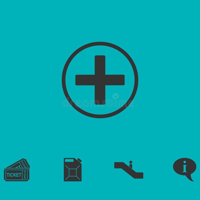 Medical cross icon flat stock illustration