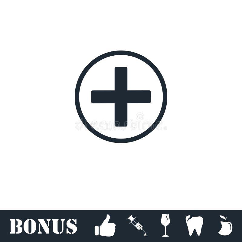 Medical cross icon flat royalty free illustration