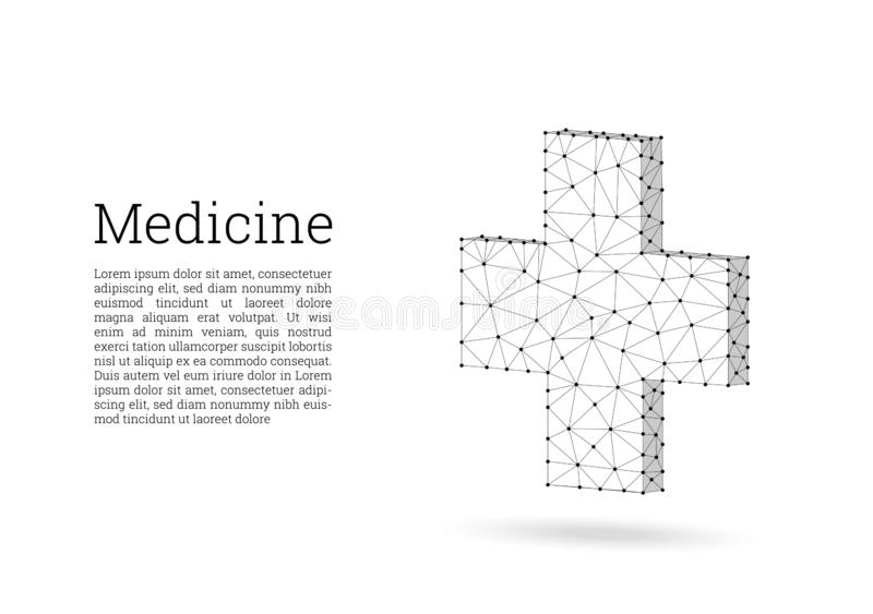 Medical cross low poly wireframe style. Medicine, first aid concept. Medical and pharmacy vector sign. Abstract polygonal design vector illustration
