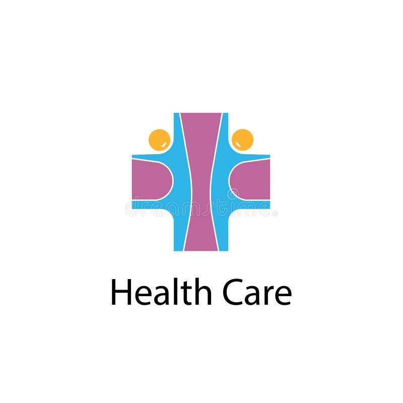 Medical cross & people icon.Medical center vector logo design te stock illustration
